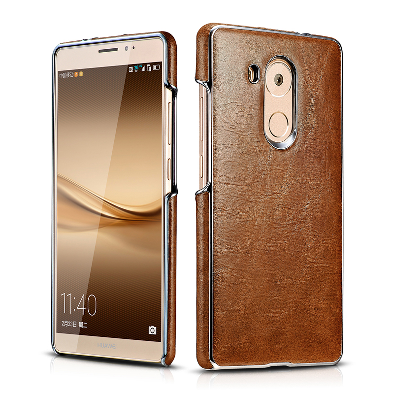 Huawei Mate 8 Platinum Electroplating Real Leather Back Case