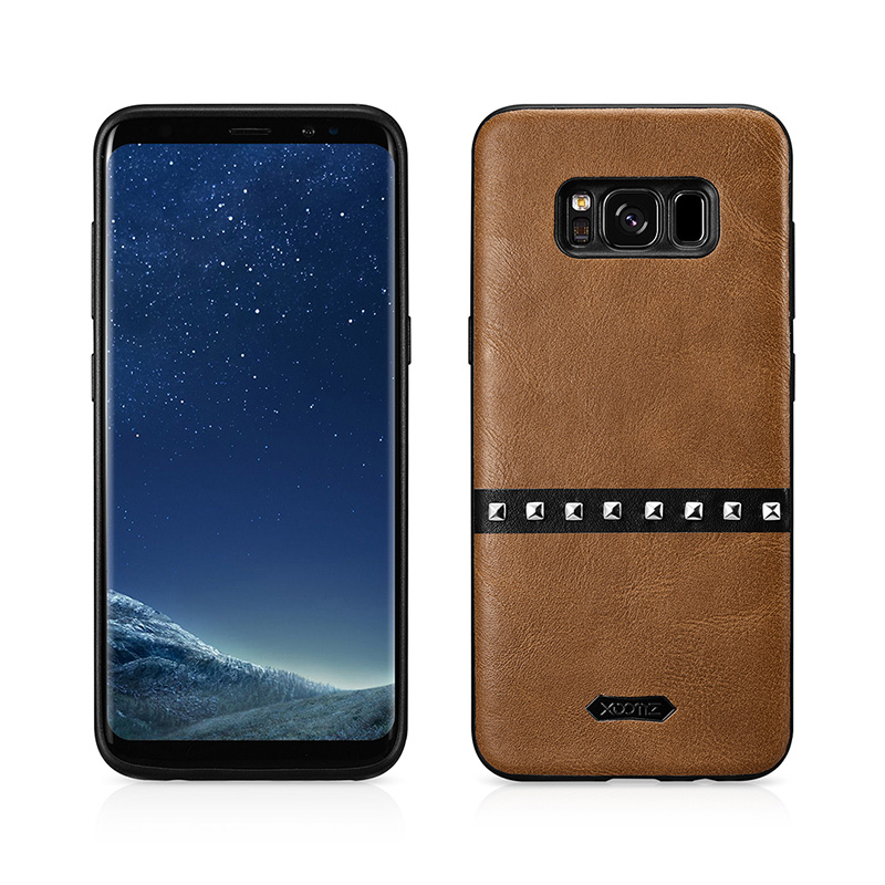 SAMSUNG S8 Plus Gold Rivets PU Leather Back Case