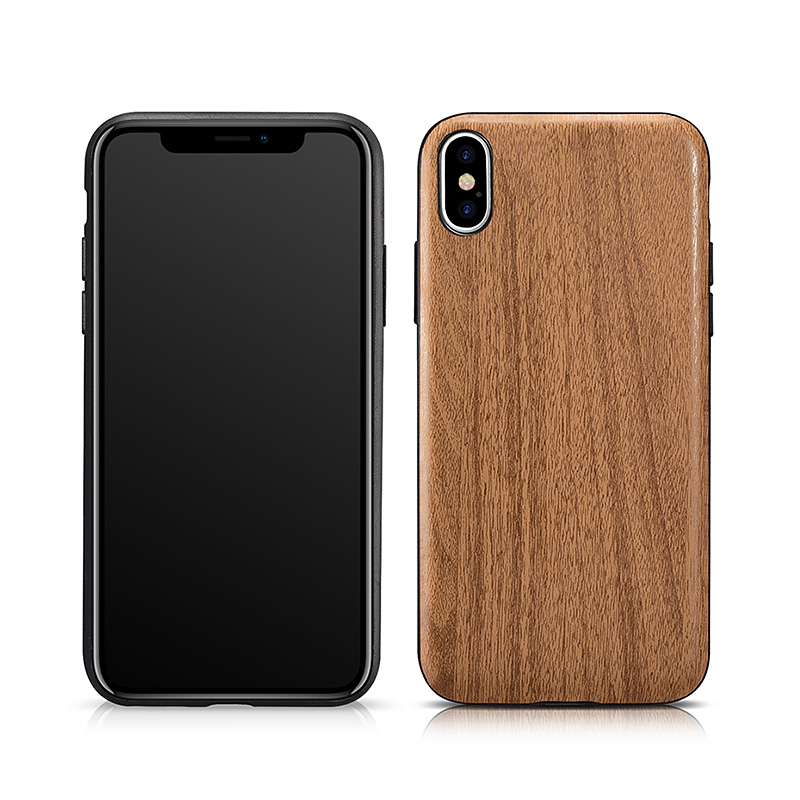 iPhone X Customized Wood Embossed PU Back Case
