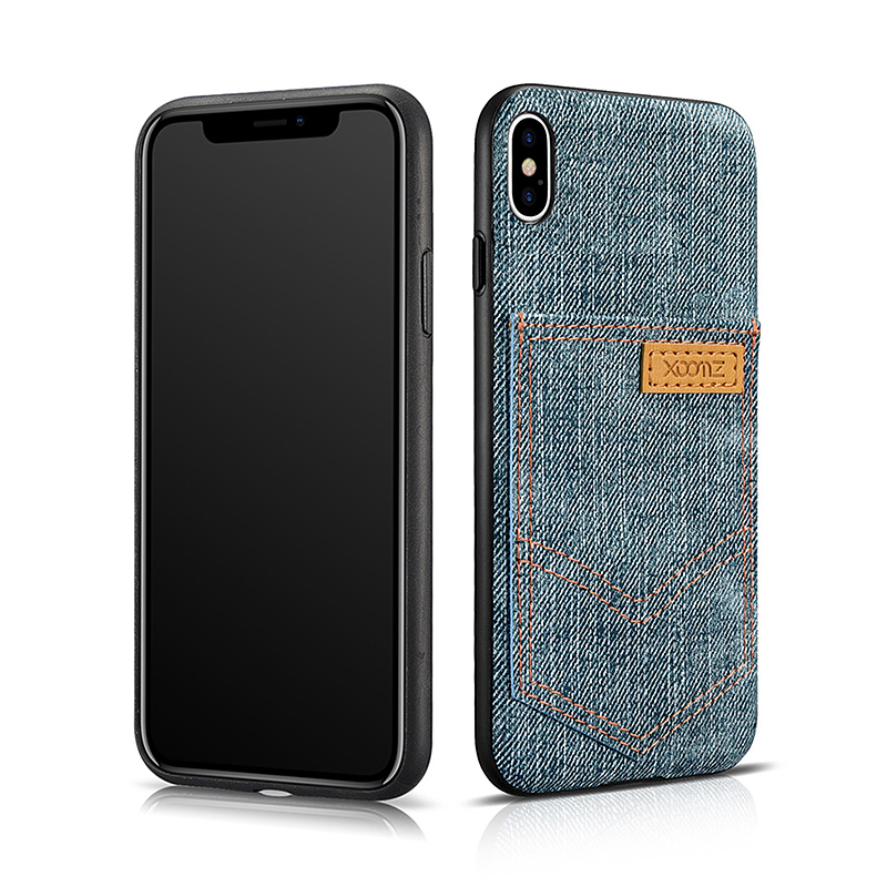 iPhone X Jeans Pocket PU Back Cover